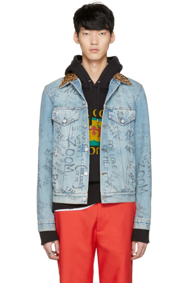 Gucci - Blue Denim Writing Jacket
