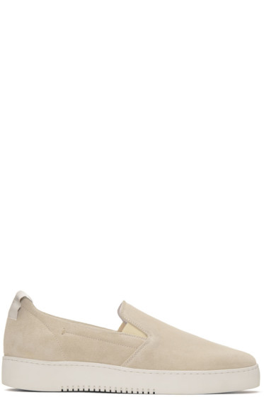 Calvin Klein Collection - Off-White Suede Urban Slip-On Sneakers
