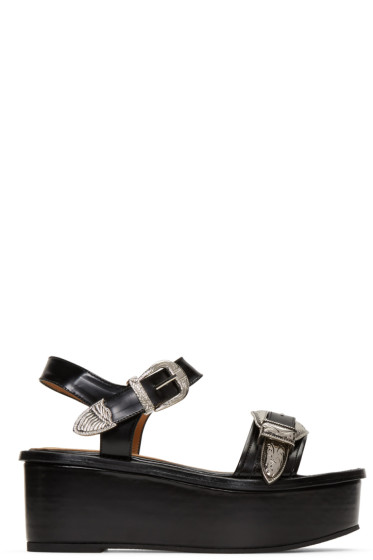 Toga Pulla - Black Buckle Flatform Sandals