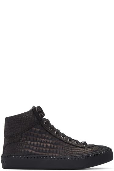 Jimmy Choo - Gunmetal Croc-Embossed Argyle High-Top Sneakers