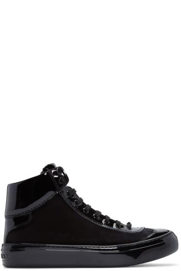 Jimmy Choo - Black Velvet & Leather Argyle High-Top Sneakers