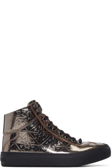 Jimmy Choo - Gunmetal Star-Embossed Argyle High-Top Sneakers