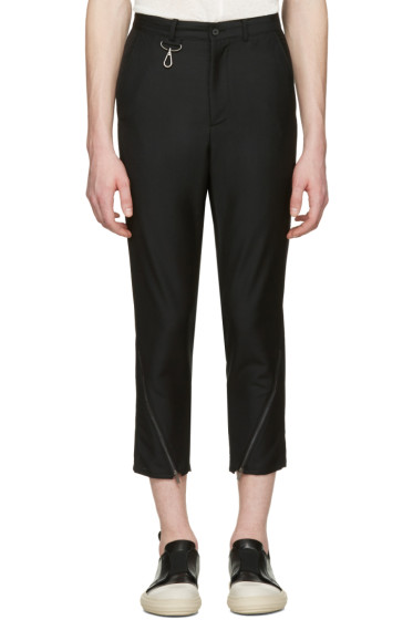 D.Gnak by Kang.D - Black Oblique Zip Cuffs Trousers