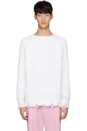 Haider Ackermann - White Ribbed Sweater
