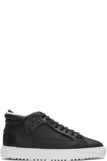ETQ Amsterdam - Black Croc-Embossed Mid 2 Sneakers