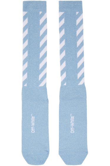 Off-White - Blue Diagonal Shiny Socks