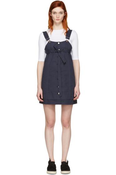 SJYP - Navy Button-Front Dress