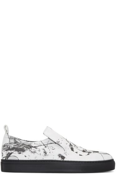 AD Ann Demeulemeester - White Suede Splatter Slip-On Sneakers