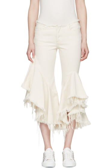 Marques Almeida - Off-White Frill Jeans