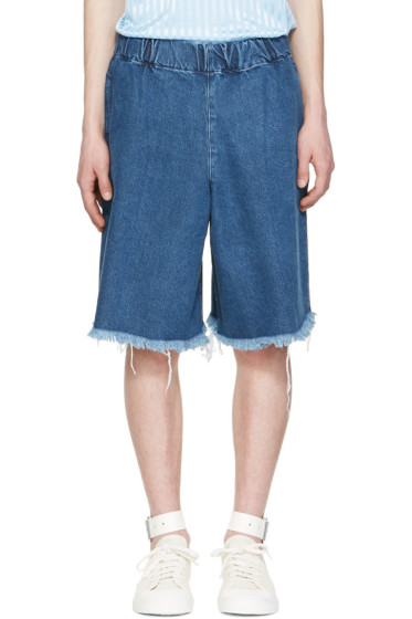Marques Almeida - Blue Denim Track Shorts