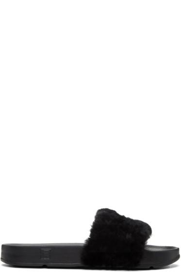 Baja East - Black Fila Edition Shearling Drifter Sandals