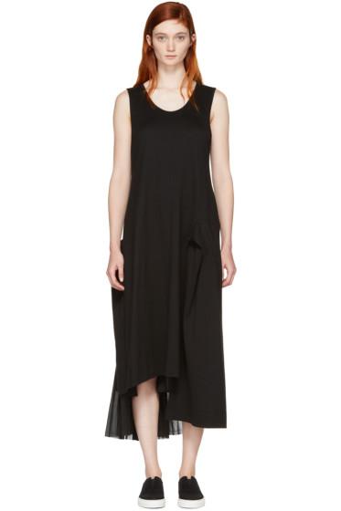 Y's - ブラック コントラスト プリーツ ドレス