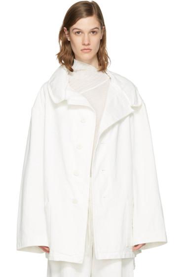 Y's - ホワイト デニム ワイド ラペル コート