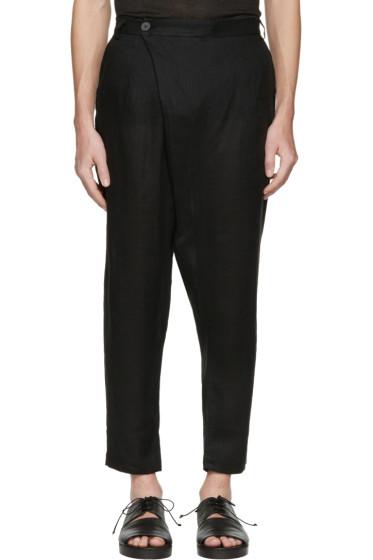 Isabel Benenato - Black Linen Wrap Front Trousers