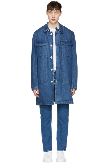 Sunnei - Blue Denim Long Pocket Jacket