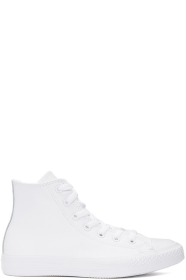 Converse - White Leather CTAS High-Top Sneakers