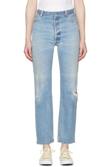 Re/Done - Blue Ultra High-Rise Straight Jeans