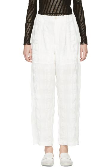 Issey Miyake - White Linen Check Trousers