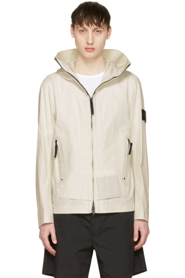 Stone Island - White Zip Pockets Jacket