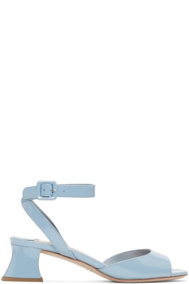 Miu Miu - Blue Patent Leather Heeled Sandals