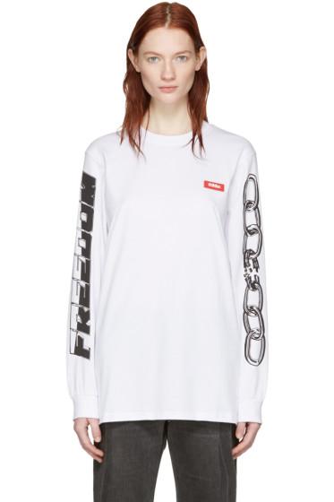 032c - ホワイト チェーン グラフフィック T シャツ