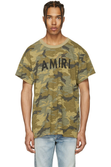 Amiri - Tan Camo Vintage Logo T-Shirt