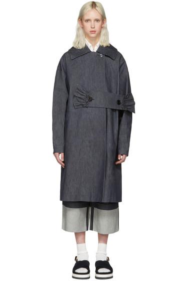 Shushu/Tong - Blue Denim Waist Band Coat