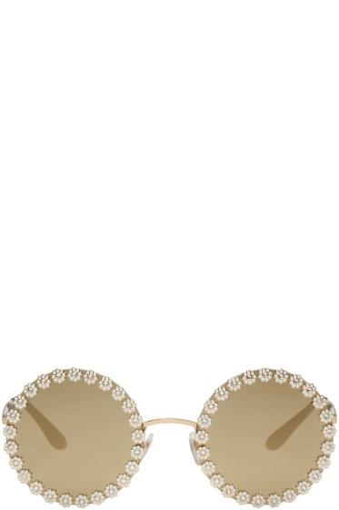 Dolce & Gabbana - Gold Studded Daisy Sunglasses