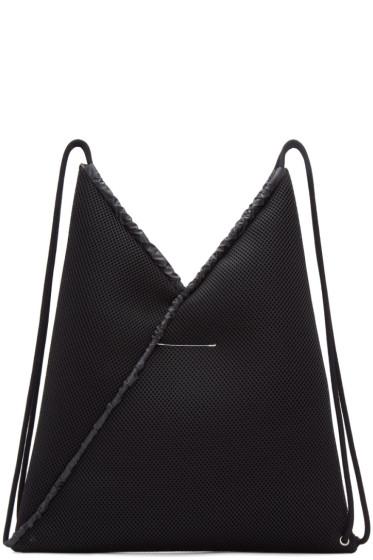 MM6 Maison Margiela - Black Mesh Drawstring Backpack