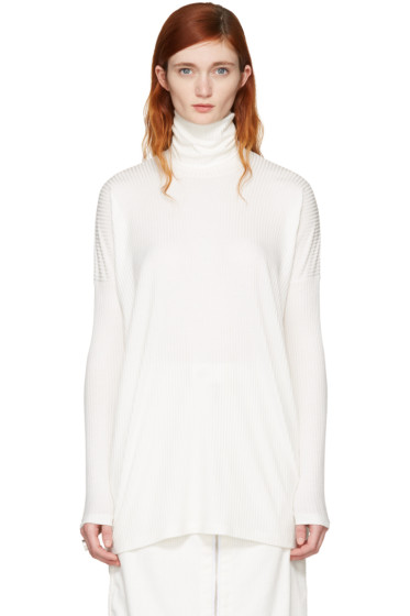 MM6 Maison Margiela - Off-White Ribbed Turtleneck