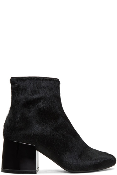 MM6 Maison Margiela - Black Pony Boots
