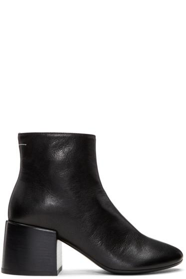 MM6 Maison Margiela - Black Leather Cube Heel Boots