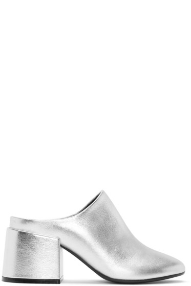 MM6 Maison Margiela - Silver Metalilc Leather Mules