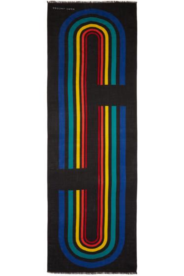 Marc Jacobs - Black Vintage Stripe Logo Scarf