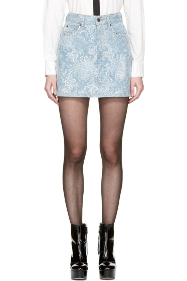 Marc Jacobs - Purple Embellished Denim Miniskirt