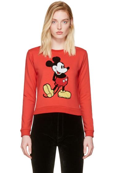 Marc Jacobs - Red Shrunken Sequin Mickey Mouse Sweatshirt