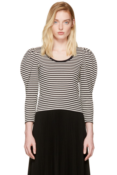 Marc Jacobs - Black Striped Puff Sleeve T-Shirt