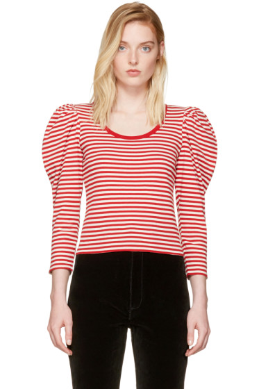 Marc Jacobs - Red Striped Puff Sleeve T-Shirt