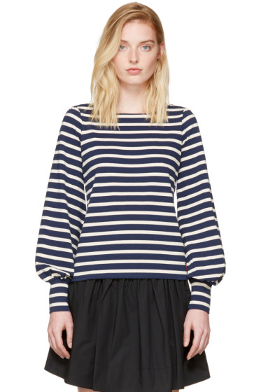 Marc Jacobs - Navy & Ecru Striped 60's Sleeve T-Shirt