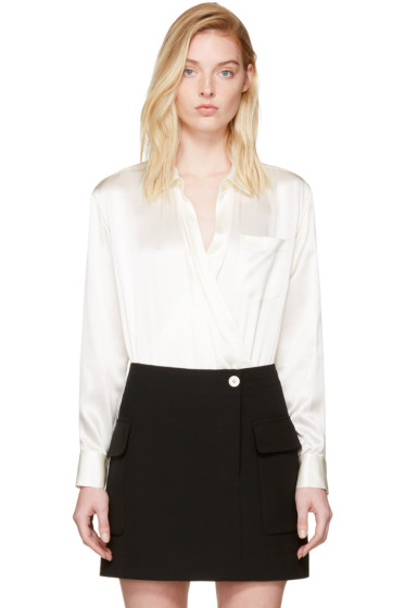 T by Alexander Wang - Ivory Silk Wrap Shirt Bodysuit