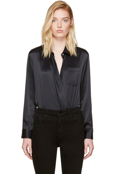 T by Alexander Wang - Black Silk Wrap Shirt Bodysuit