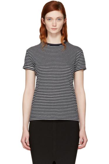 T by Alexander Wang - Navy & Grey Striped Crewneck T-Shirt