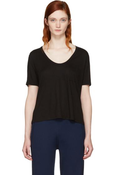 T by Alexander Wang - Black Classic Cropped Pocket T-Shirt