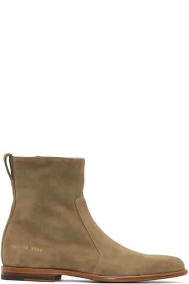 Robert Geller - Taupe Common Projects Edition Chelsea Boots
