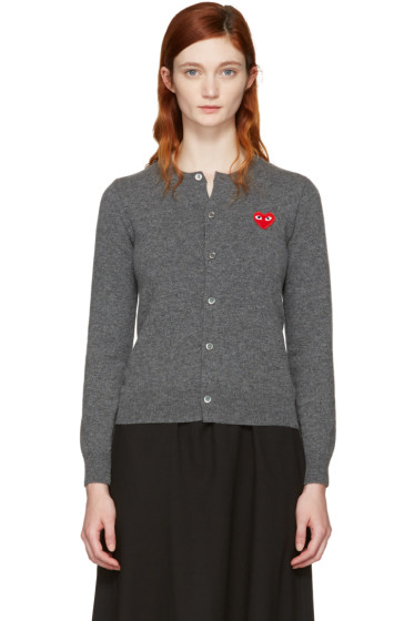 Comme des Garçons Play - Grey & Red Heart Patch Cardigan