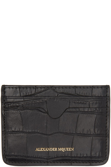Alexander McQueen - Black Croc-Embossed Card Holder