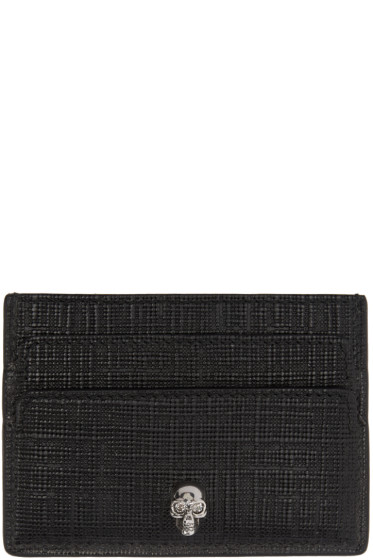 Alexander McQueen - Black & Gunmetal Lino Skull Card Holder