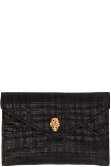 Alexander McQueen - Black & Gold Skull Envelope Card Holder