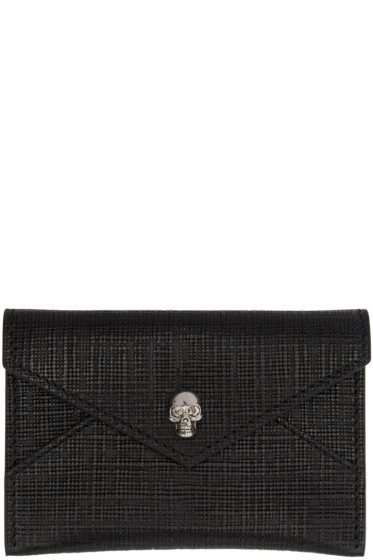 Alexander McQueen - Black & Gunmetal Skull Envelope Card Holder