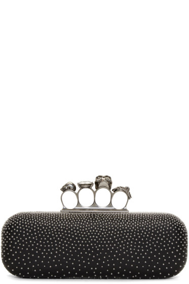 Alexander McQueen - Black Studded Long Knuckle Box Clutch